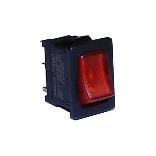 Morris 70192 Miniature Printed Lighted Rocker Switch, SPST, On-Off, Quick Connect Spade Terminals, Red