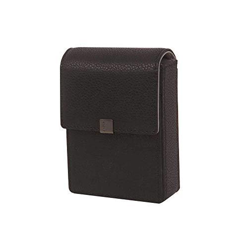 Genuine Leather Cigarette & Lighter Case with Card Holder Black