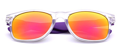 Colorful Retro Fashion Sunglasses Translucent Clear Matte Frame - Color Mirrored Lenses Clear | Purple