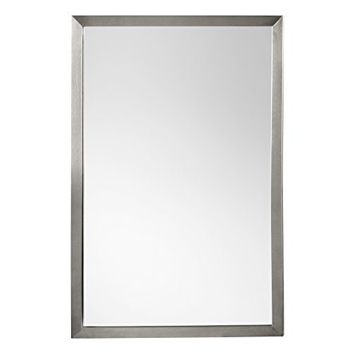 "RONBOW Emile 22"" x 32"" Contemporary Metal Frame Wall Decor Bathroom Mirror in Brushed Nickel Finish 603423-BN"