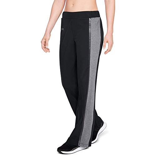 Under Armour Women's Unstoppable Woven Wide Leg Pant, Black (001)/Tonal, Large