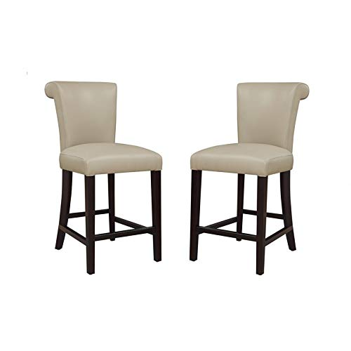 Pemberly Row Norwood III Wheat Grass 24'' Faux Leather Counter Stool (Set of 2)