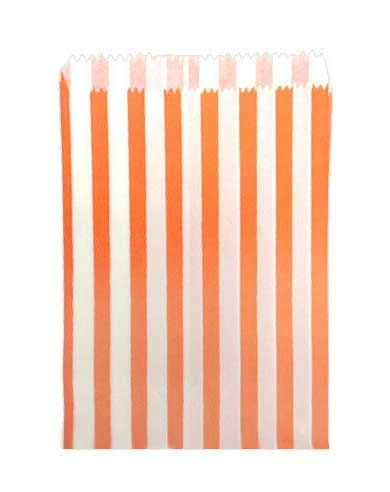 St@llion 100 Pcs Orange Candy Bags 5×7 Inch Paper Stripped Stripe Bag For Party Sweets Candy Bags