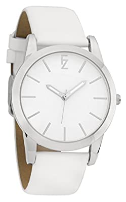 Ferenzi Women's | Simple Casual Minimalist Full White Watch with White Smooth PU Leather Strap | FZ17502