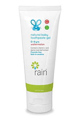 Rain Natural Baby Fluoride Free Toothpaste Gel - Safe to Swallow | Babys Training Dental Tooth Gel | Vitamin C Enriched to Help Prevent Gingivitis | Ages 0-6 Years