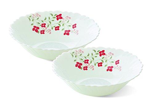 Larah by Borosil Janus Glass Multipurpose Bowl Set Set of 2 White