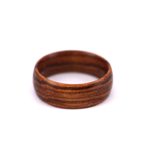 SOLEED Rings Wooden Wedding Band For Men and Women, 8mm Natural Zebra Wood Ring, Comfort Fit Design, Size 10
