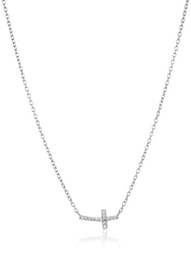 Sterling Silver Cubic Zirconia Side Cross Pendant Necklace,16