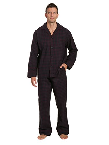 Noble Mount Men's Flannel Pajama Set - Checks - Black-Fig - Medium