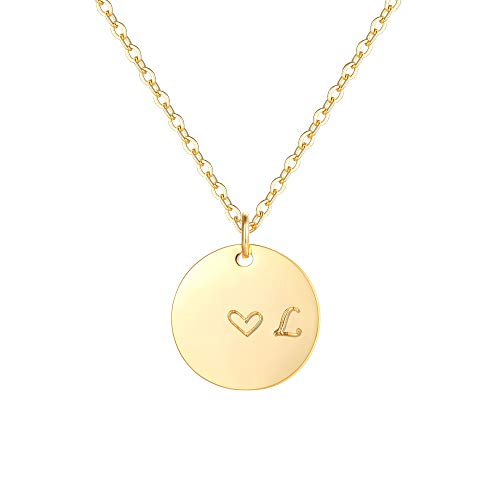 Gold Initial L Pendant Necklaces,14K Gold Filled Engraved Disc Personalized Name Dainty Handmade Cute Heart Initial L Tiny Pendant Necklaces Jewelry Gift for Women (Gold Initial Disc Pendant)