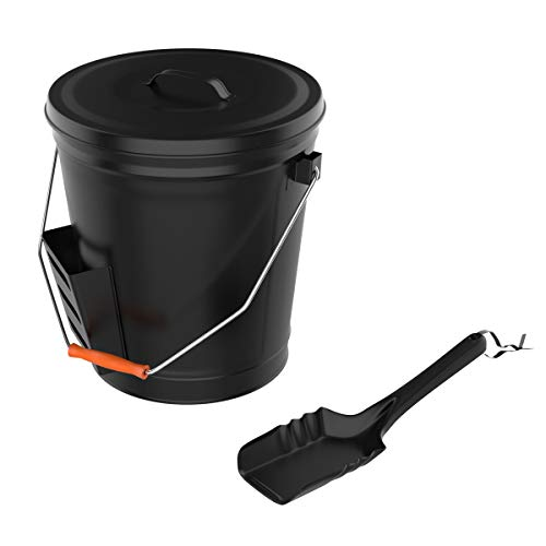 (Pure Garden 50-210 4.75 Gallon Black Ash Bucket with Lid and Shovel-Essential Tools for Fireplaces, Fire Pits Wood Burning Stoves-Hearth Accessories)