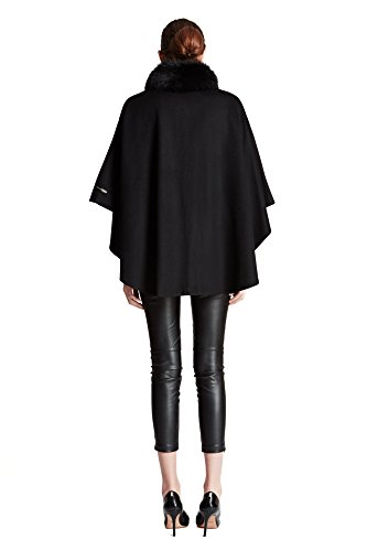 Cashmere Pashmina Group:Cashmere Cape w/genuine Fox Fur Collar & Fox pompom ties (Black) by Cashmere Pashmina Group (Image #2)