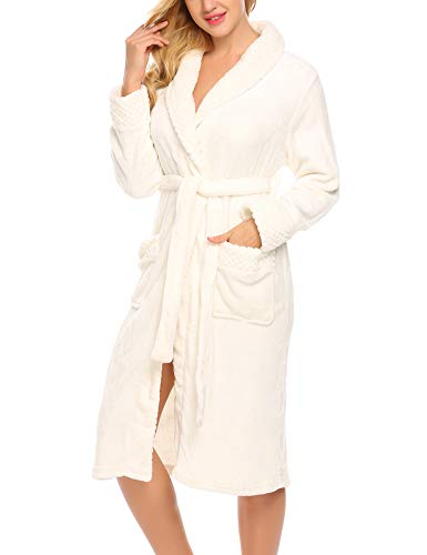 Ekouaer Womens Soft Warm Fleece Bathrobe Kimono Spa Robe (L, White)