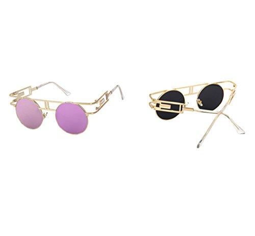 Hellomiko sol de Steampunk redondo Gafas aviador góticas de vintage de marco Gafas Púrpura Oro metálicas de afwEaqr