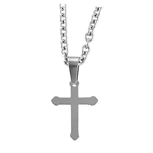 Tone Budded Cross (Dicksons Brushed Silver-Tone Budded Cross Stainless Steel 24-Inch Pendant Necklace)