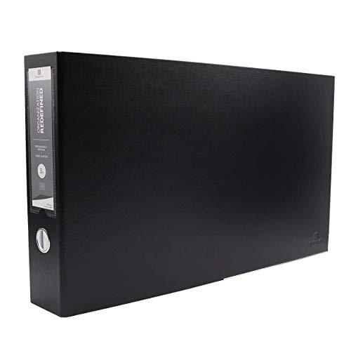 Bindertek 3-Ring 3-Inch Premium Linen Textured Ledger Binder, for 11 x 17 Paper, Black (3LDG3N-BK)