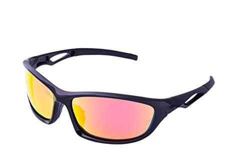 Clear Lake Leman Men's Sports Fishing Sunglasses Black Frame w/Polarized Red Mirror Lenses