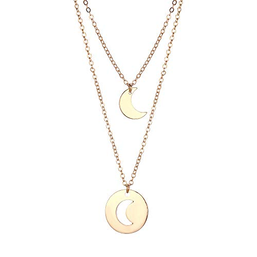 Haluoo_Jewelry Matching Layered Necklace,Haluoo Women Fashion Gold Plated Hollow Moon Cion Pendant Clavicle Chain Ladies Stylish Long Crescent Moon Pendant Sweater Chain Necklace Adjustable (Gold)