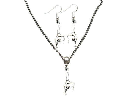 et- Girls Gymnastics Necklace & Gymnastic Earrings - Perfect Gift For Gymnast ()