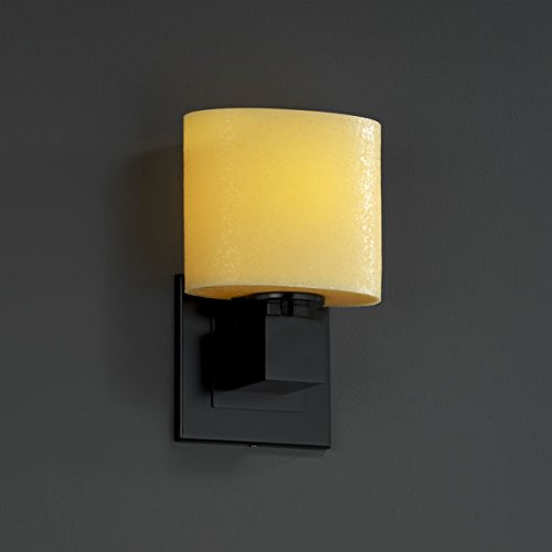(Justice Design Group CNDL-8707 - Aero 1 Light ADA Wall Sconce (No Arms) - Oval Shade - Matte Black with Amber)