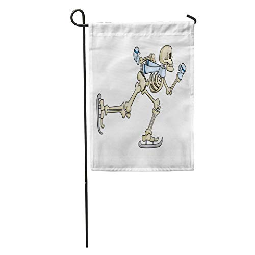 Nfuquyamluggage Garden Flag Halloween Cartoon Skeleton Ice Skating Anatomy Body Bone Character Cold Home Yard House Decor Barnner Outdoor Stand 12x18 Inches Flag -