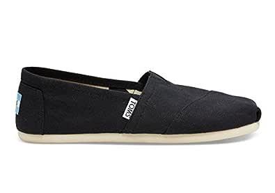 TOMS Women's Canvas Slip-On,Black,5 M