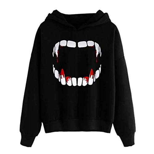 Women Halloween Shirt Vampire Horror Blood Sweatshirt Long Sleeved Hoodies Pullover Halloween Graphic Unisex Tops Black