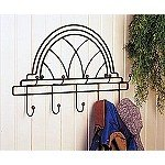 Gothic Window Wrought Iron Coat Hat Rack