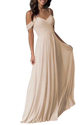 Champagne Wedding Bridesmaid Dress for Women 2019 Long Cold Shoulder Pleated Chiffon Formal Dress for Women
