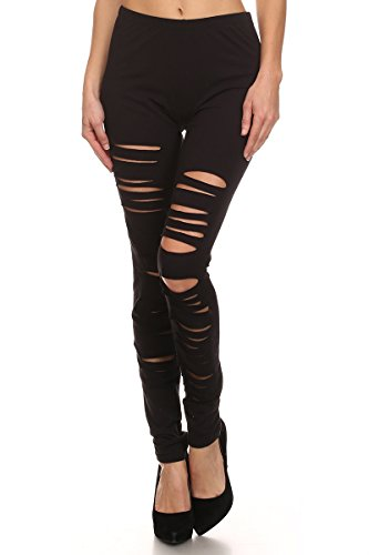 J2 LOVE Made in USA Ripped Stretch Cotton Legging ,Black,2X Plus