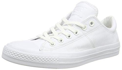 Converse Women's Madison Leather Low Top Sneaker, White/White/White, 9 M US