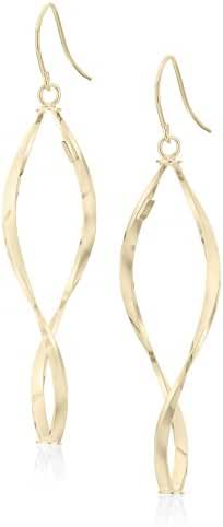 14k Italian Gold Twisted Tube Dangle Earrings