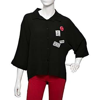 Parkhande Black Polyester Shirt Neck Shirts For Women