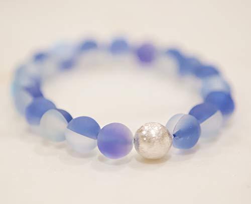 (Sky Blue Mermaid Glass Bead & Silver-Plated Bracelet)
