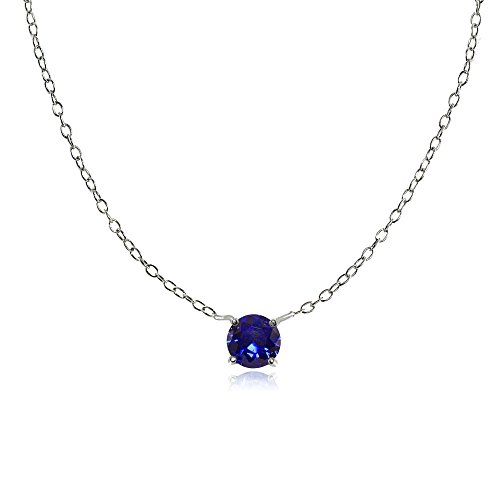 Sterling Silver Small Dainty Round Created Blue Sapphire Choker Necklace