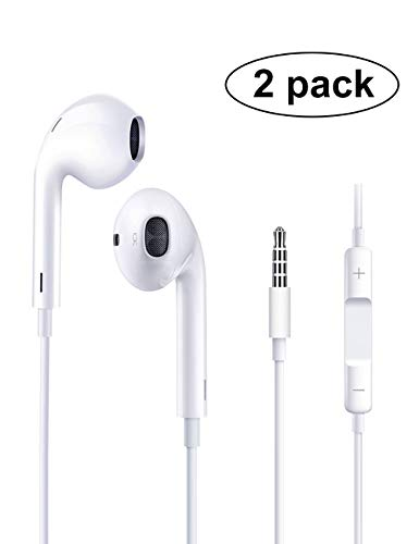 Headphones/Earphones/Earphones with Remote Control, Perfect Stereo soundproof Drop-Proof Wired Earphones/iPhone 6s / Plus / 6 / 5s / se (White 2pack)