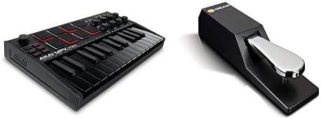 AKAI Professional MPK Mini MK3 Black Pads et Joystick P/édale de Sustain de Type Piano Clavier Ma/ître MIDI USB 25 Touches Sensibles M-Audio SP-2