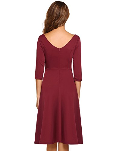 HOTOUCH Women Fit and Flare Short Sleeve Party Cocktail Dress (Dark Red S)