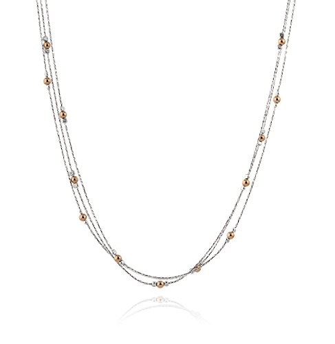 (Triple Strand Two Tone Necklace 925 Sterling Silver & 14k Gold Filled Polished Beads, 18