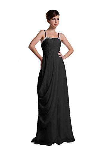 Novia Mall spaghtti de la mujer correas cuentas Evening Party vestidos negro negro 46