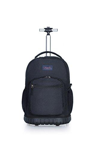 Tilami Rolling Backpack 18 Inch for School Travel, black