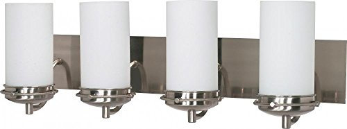(Nuvo 60/614 Four Light Vanity with White Opal Glass, Brushed Nickel )