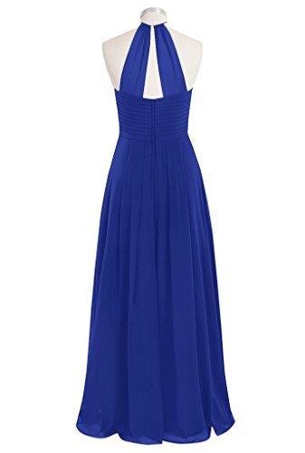 Dresses Halter CuteShe Chiffon Women's Purple Long Bridesmaid gqWPf67