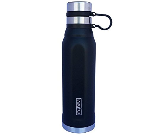 MyBevi Stainless Steel Tumbler - Quatro Sports Bottle 25 oz (Black)