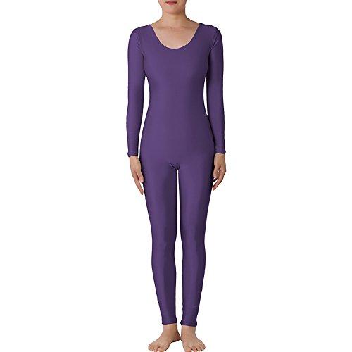 [Muka Scoop Neck Long Sleeve Unitard Lycra Zentai Bodysuit Catsuit Dancewear - PURPLEAETHEST,XXL] (Male Wench Costume)