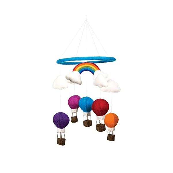 Hot Air Balloons Rainbow & Clouds Theme – Hanging Baby Nursery Decor Crib Mobile – Handmade 100% Natural Felted Wool (Turquoise)