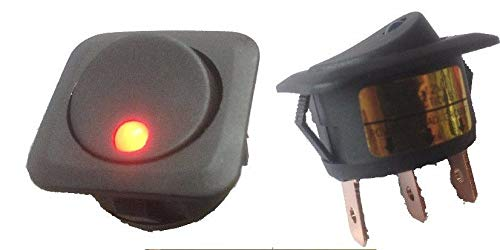 Mid-Ulster Red Round Illuminated LED On/Off Rocker Switch With Square Base 12V Car Dash K764