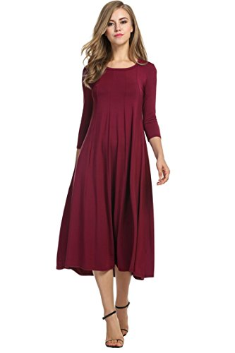 Hotouch Women's Quarter Sleeve A-Line Trapeze Midi Dress (Wine Red, XXL)