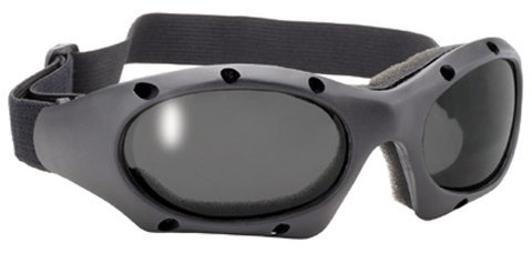 Pacific Coast Sunglasses Dominator Black Sports Motorcycle Goggles With Polycarbonate Smoke Lens