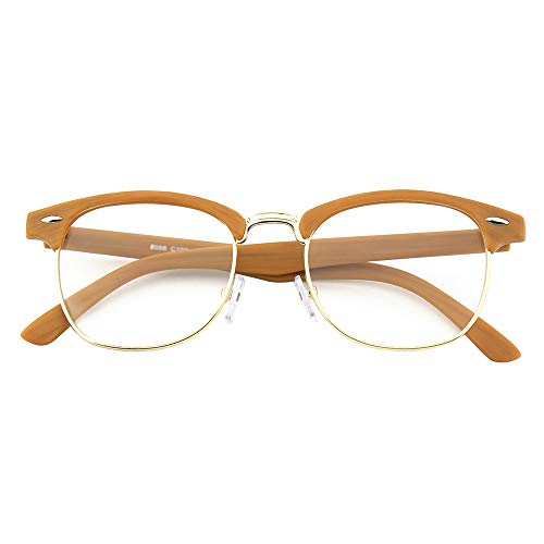 Happy Store CN56 Vintage Inspired Classic Horn Rimmed Half Frame Nerd UV400 Clear Lens Glasses,Wood Color (Colour Fashion Womens)